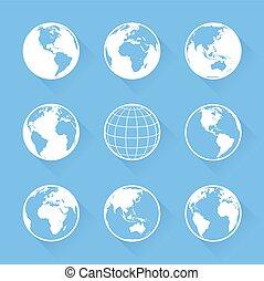 wektor, światowa kula, ikony