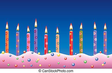 wektor, świece, urodzinowy placek, hałas