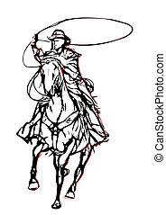 wektor, 2, ilustracja, kowboj