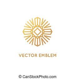 wektor, abstrakcyjny, logo, projektować, szablon, w, modny, linearny, styl