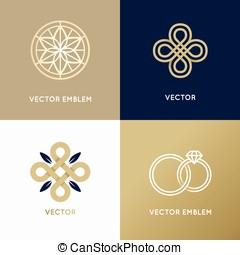 wektor, abstrakcyjny, logo, zaprojektujcie szablony, w, modny, minimalny, styl