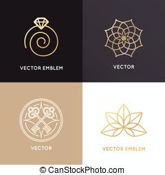 wektor, abstrakcyjny, symbole, i, emblematy, w, modny, linearny, styl, w, złoty, kolor