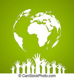 wektor, afisz, jedność, globalny