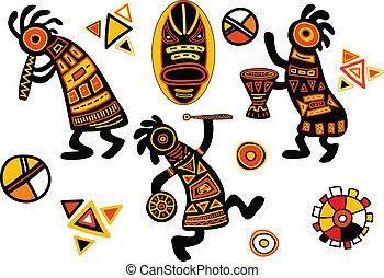wektor, afrykanin, tradycyjny, wzory