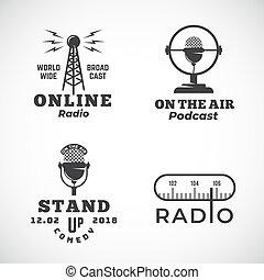 wektor, albo, mikrofon, tabela, abstrakcyjny, wieża, do góry, powietrze, transmisja, emblematy, symbols., radio, online, znaki, logo, stać, komedia, set., podcast, templates.