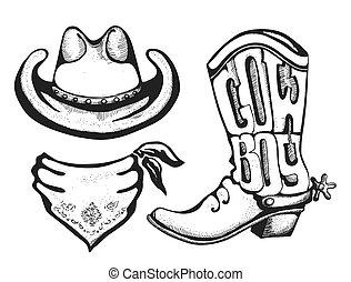 wektor, amerykanka, clothes., barwna chustka, western, biały, odizolowany, kapelusz, bucik kowboja