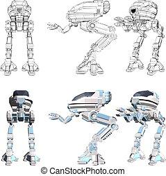 wektor, android, ilustracja, tło., biały, odizolowany, 23.