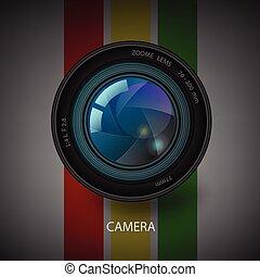 wektor, aparat fotograficzny, żaluzja, icon.