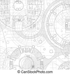 wektor, architektoniczny, blueprint.