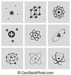 wektor, atom, komplet, czarnoskóry, ikony