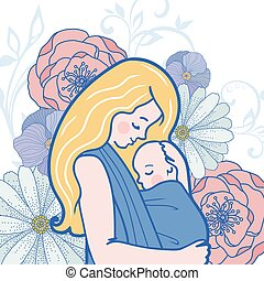 wektor, babywearing, ilustracja, z, macierz, tulenie, niemowlę, w, niejaki, podwieszka