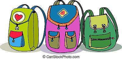 wektor, backpacks, trzy, barwny, dzieci