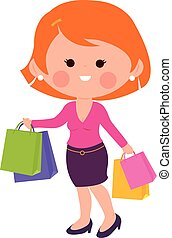 wektor, bags., kobieta shopping, ilustracja