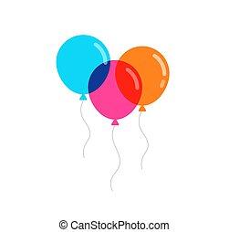 wektor, balony, barwny, ilustracja