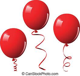 wektor, balony, ilustracja, czerwony