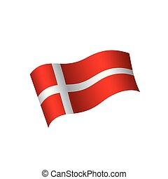 wektor, bandera, ilustracja, danmark