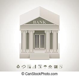wektor, bank, ikona