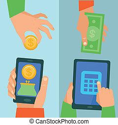 wektor, bankowość, pojęcie, online