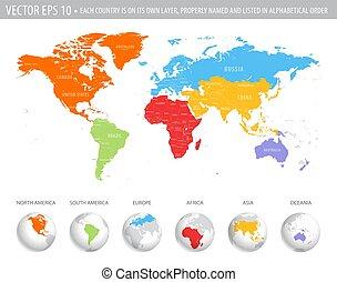 wektor, barwny, światowa mapa