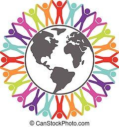 wektor, barwny, ilustracja, od, ludzie, dokoła świat, pokój, albo, podróż, pojęcie