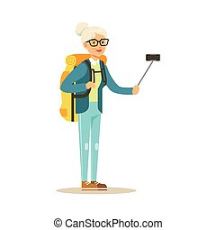 wektor, barwny, senior, czynny, zrobienie, selfie, ilustracja, smartphone, kobieta, plecak, litera