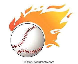 wektor, baseball, płomienie