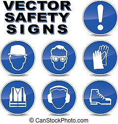 wektor, bezpieczeństwo, znaki