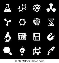 wektor, biały, nauka, ikony, komplet