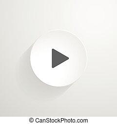 wektor, biały, okrągły, button., gra, ikona