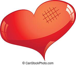 wektor, blask, cutted, serce, czerwony, ilustracja