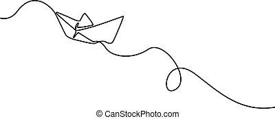 wektor, boat., ciągły, jeden, papier, kreskówka, illustration.