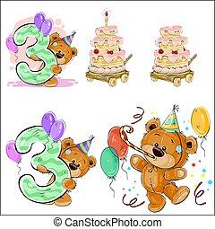 wektor, brązowy, komplet, teddy, liczba, ilustracje, urodziny, 3., niedźwiedź, ciastko