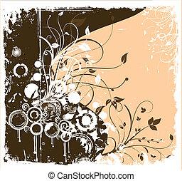 wektor, brązowy, kwiat, grunge, ornament.