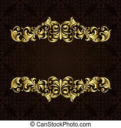 wektor, brzeg, złoty, ozdobny