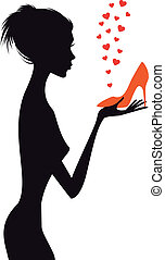wektor, bucik, kobieta, fason, czerwony