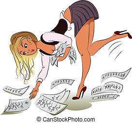 wektor, businesswoman., ilustracja