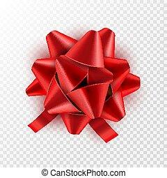 wektor, card., dar, świąteczny, isolated., ilustracja, łuk, ozdoba, urodziny, wstążka, święto, czerwony, celebrowanie
