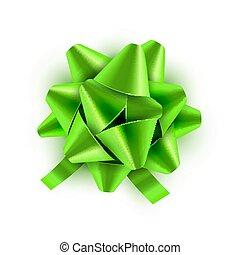 wektor, card., dar, świąteczny, isolated., ilustracja, łuk, ozdoba, urodziny, zielony, święto, wstążka, celebrowanie