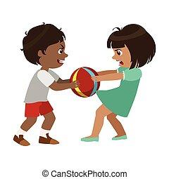 wektor, chłopiec, piłka, zachowanie, prosty, dzieciaki,...