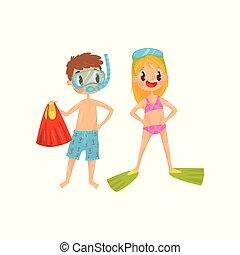 wektor, chłopiec, rozrywka, dzieciaki, lato, płaski, okulary ochronne, na wolnym powietrzu, projektować, sea., snorkeling., gotowy, nurkowanie, dziewczyna, flippers., activity.