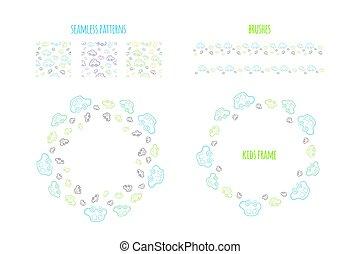 wektor, chłopiec, szczotki, pattern., wieniec, cars., seamless, próbka, ręka wystawiają, niemowlę, pociągnięty, koło, brzegi