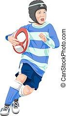 wektor, chłopiec, teenage, rugby., interpretacja