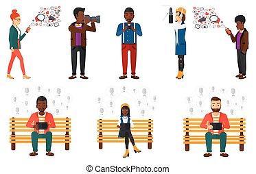 wektor, characters., komplet, media, ludzie
