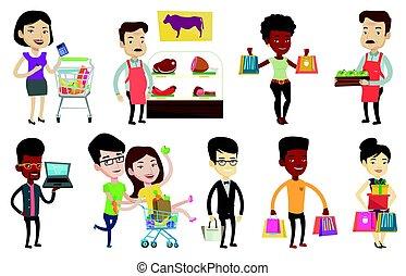 wektor, characters., komplet, zakupy, ludzie