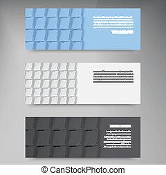 wektor, chorągwie, i, squares., kolor, komplet