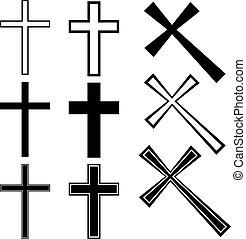 wektor, chrześcijanin, krzyże