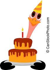wektor, ciastko, tło., ilustracja, urodziny, biały