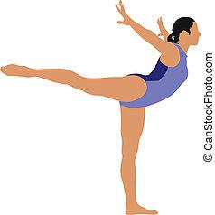 wektor, cielna, kobieta, komplet, gimnastyczny