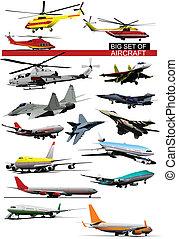 wektor, cielna, komplet, illust, aircraft.