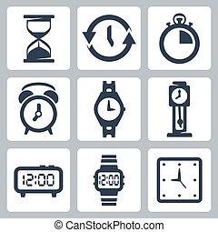 wektor, clocks, komplet, odizolowany, ikony